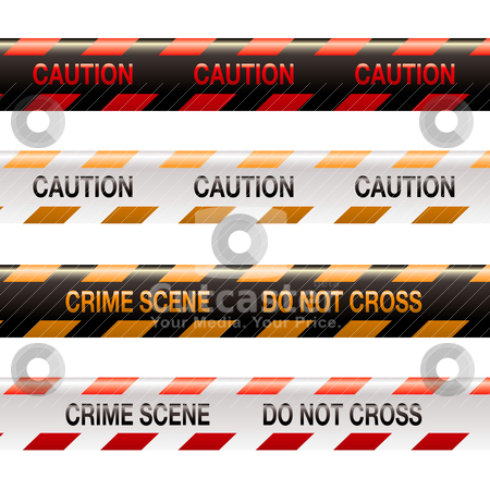 Crime scene tape modern stock vector clipart, Four illustrations of modern crime scene warning tape in orange and red by Michael Travers
