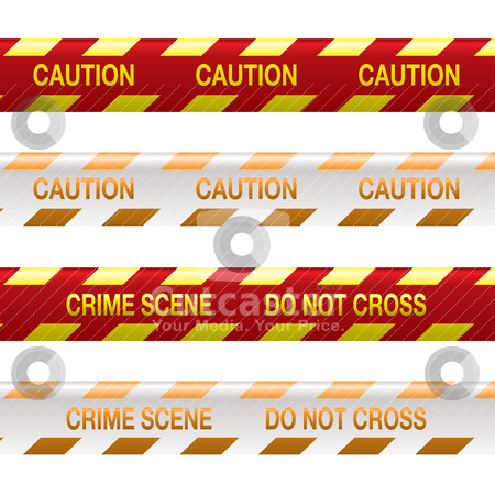 Crime scene tape red stock vector clipart, Four strips of crime scene tape in red and yellow with shadow effect by Michael Travers