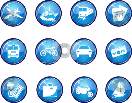 12 Glossy Travel Icons stock vector clipart, Available in black, blue and hot pink. by Basheera Hassanali