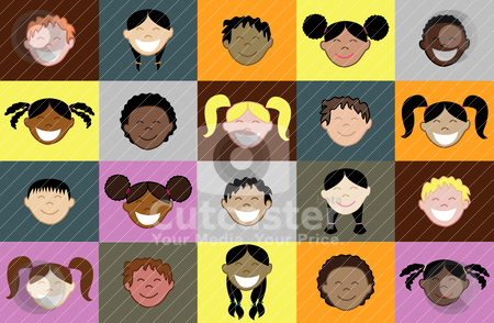 Kids Faces 2 stock vector clipart, Diversity of children together as friends. I do custom work! by Basheera Hassanali