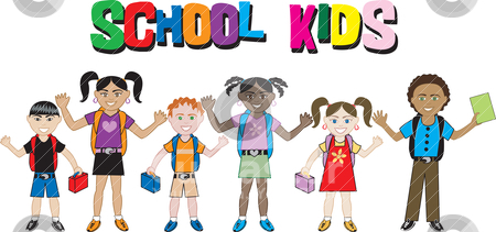 School Kids 2 stock vector clipart, Diversity of children together as friends. I do custom work! by Basheera Hassanali