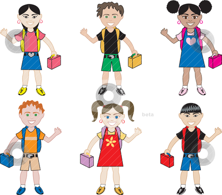 School Kids stock vector clipart, Diversity of children together as friends. I do custom work! by Basheera Hassanali