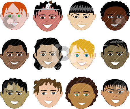 Boys Faces stock vector clipart, 12 diverse boys faces. Also available in children, boys, girls, women and men faces. Vector by Basheera Hassanali