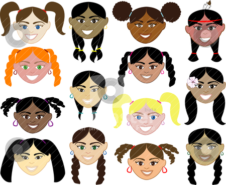 Girls Faces stock vector clipart, 14 diverse girls faces. Also available in children, boys, girls, women and men faces. Vector by Basheera Hassanali