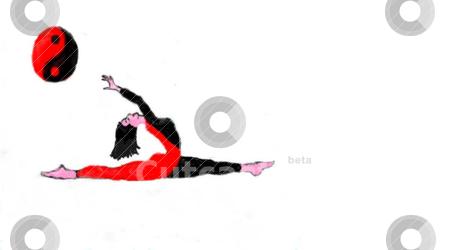 Yoga splits stock vector clipart, Girl in yoga position with yin yang symbol by Debbie Pedersen