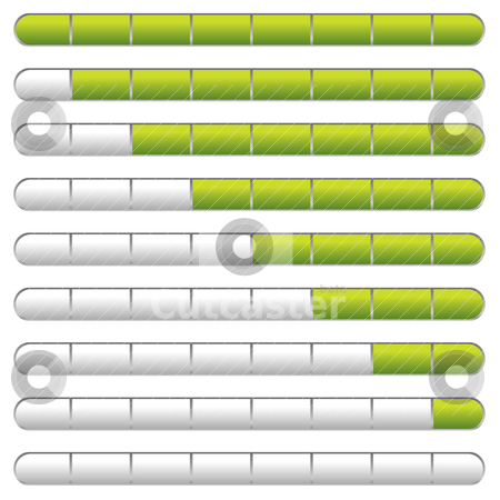 Download bar green stock vector clipart, Collection of download bars with neon green indicator by Michael Travers