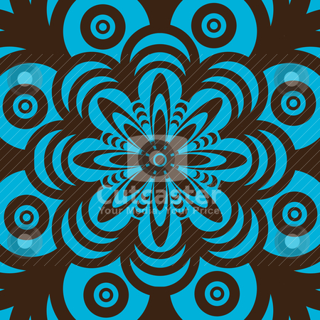 Retro wallpaper design stock vector clipart, Blue and brown abstract seamless wallpaper design in sixties style by Michael Travers