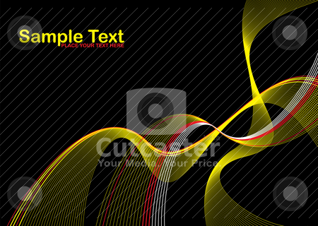 Black wave stroke stock vector clipart, Yellow and black abstract background wave design with room for text by Michael Travers