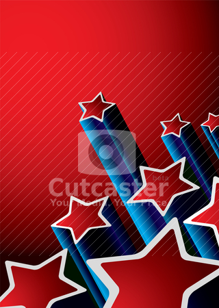 Star background retro stock vector clipart, Red and blue abstract seventies background with shooting stars by Michael Travers