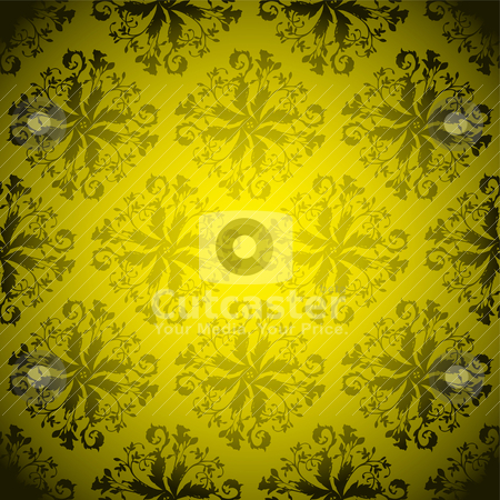 Golden wallpaper repeat stock vector clipart, Floral inspired yellow and black background with repeat design by Michael Travers
