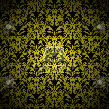 Floral gothic gold stock vector clipart, Golden floral abstract wallpaper with seamless repeating design by Michael Travers
