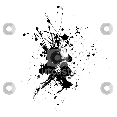 Spider splat stock vector clipart, Black abstract ink dropped on white paper with grunge effect by Michael Travers