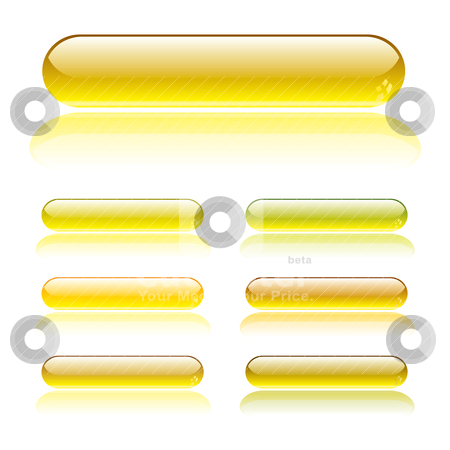 Mellow button stock vector clipart, Seven gel filled lozenge buttons with light reflection by Michael Travers