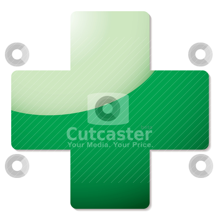 Green cross shadow stock vector clipart, Green cross icon with light reflection and drop shadow by Michael Travers