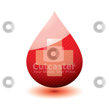 Medical blood stock vector clipart, Blood droplet icon with medical cross and drop shadow by Michael Travers