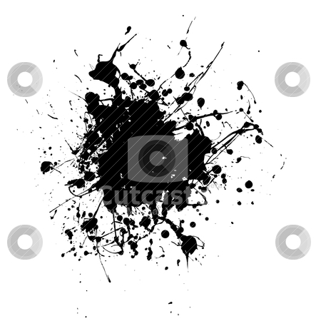 Rounded splat splat stock vector clipart, Black ink splat abstract white background with copyspace by Michael Travers