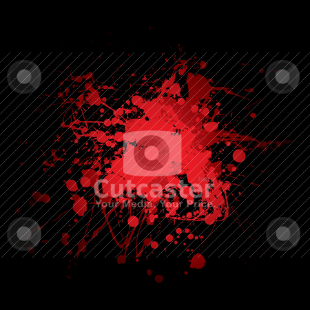 Blood splat red stock vector clipart, Abstract red and black blood spot with ink splats by Michael Travers