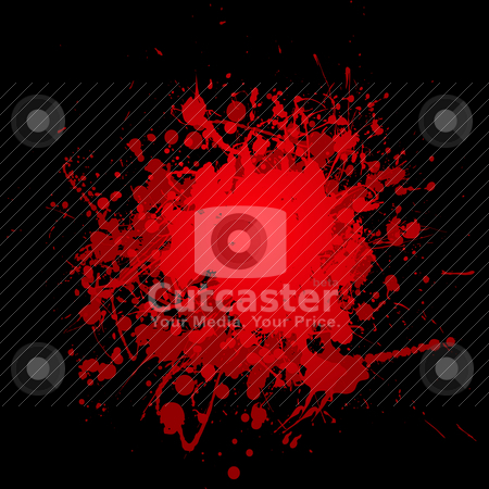 Dark splat splat stock vector clipart, Abstract blood red ink splat with black background and copyspace by Michael Travers