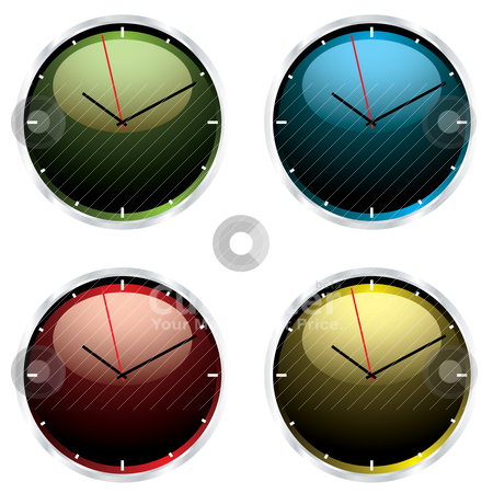 Variations modern wall clock stock vector clipart, Four brightly coloured wall clocks with metal silver bevel by Michael Travers