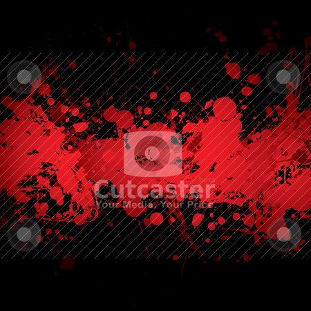 Blood banner red stock vector clipart, Abstract blood red ink splat banner with black background by Michael Travers