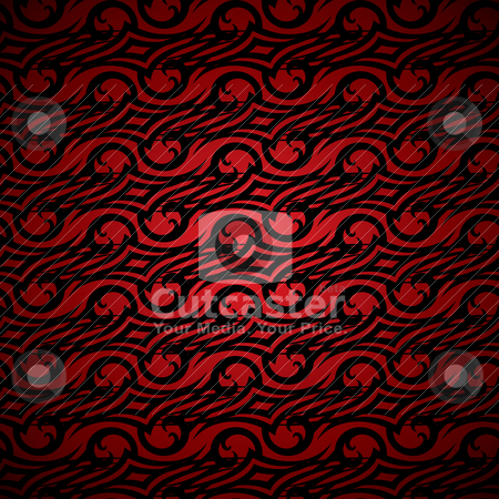 Linked wallpaper hot stock vector clipart, Red hot abstract wallpaper design with seamless swirling pattern by Michael Travers