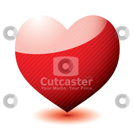 Heart reflect stock vector clipart, Red love heart with light reflection and drop shadow by Michael Travers