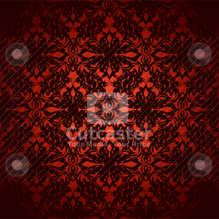 Glowing wallpaper stock vector clipart, Bright red and black abstract floral inspired wallpaper background by Michael Travers