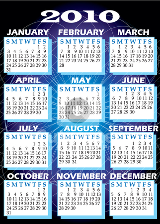 2010 Calendar stock vector clipart, Vector Illustration of 2010 Calendar with all 12 months. by Basheera Hassanali