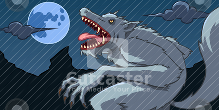 Werewolf stock vector clipart, A werewolf howling in a full moon night by Kuswanto Kuswanto