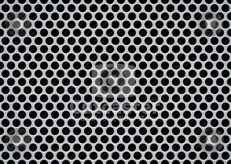 Brushed metal giant stock vector clipart, Brushed metal aluminum background with large holes in mesh pattern by Michael Travers