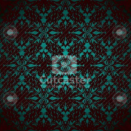 Pastel glow wallpaper stock vector clipart, Abstract seamless repeating wallpaper design in green and black by Michael Travers