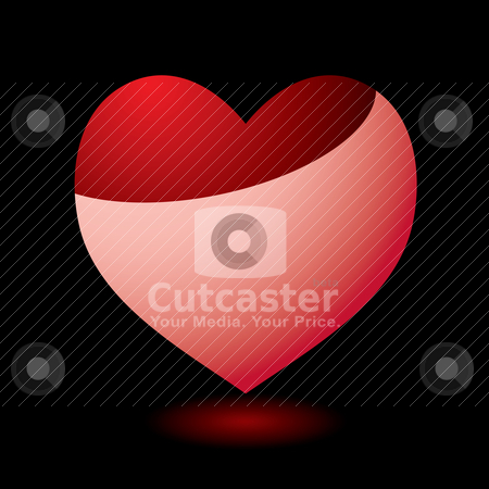 Pink heart reflect stock vector clipart, Valentines day heart with black background and light reflection by Michael Travers