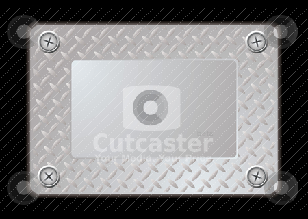 Metal sign stock vector clipart, Metal silver sign with screws and place to add your own text by Michael Travers