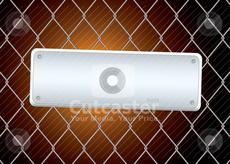 Sign fence night stock vector clipart, Industrial sign background with wire fence and bright light by Michael Travers