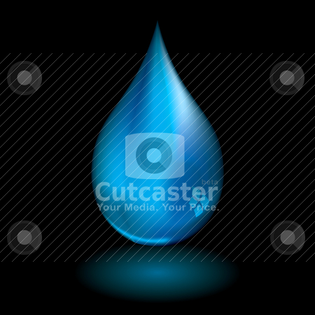 Water droplet black stock vector clipart, Single water droplet with light reflection and black background by Michael Travers