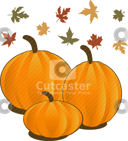 Fall stock vector clipart, Vector Illustration for Fall Autumn Leaves and Pumpkins. by Basheera Hassanali