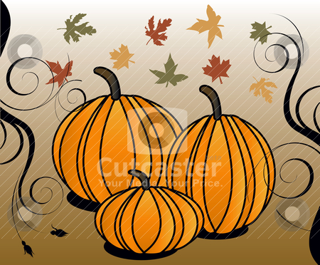 Fall 2 stock vector clipart, Vector Illustration for Fall Autumn Leaves and Stylized Pumpkins with decorative scroll. by Basheera Hassanali