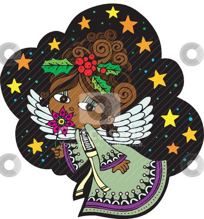 Christmas Angel 5 stock vector clipart, Christmas Card Angel 5. Christmas Card with Angel, vector, fully editable. by Basheera Hassanali