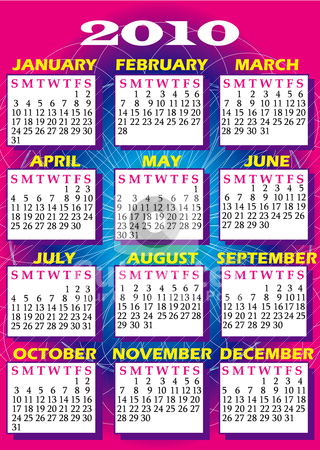 2010 Calendar 2 stock vector clipart, Vector Illustration of 2010 calendar. I have several versions. by Basheera Hassanali