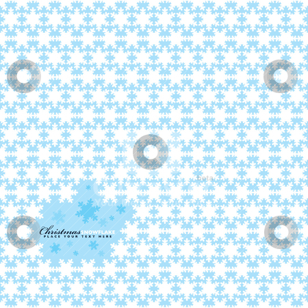 Snowflake repeat stock vector clipart, Blue and white christmas seamless repeating background with copyspace by Michael Travers