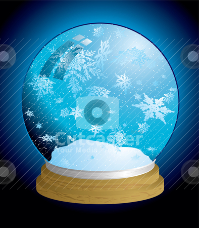 Snow globe light stock vector clipart, Christmas holiday snow globe with snowflakes and wooden base by Michael Travers