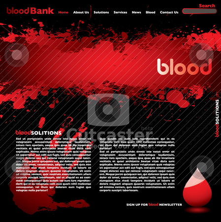 Blood web stock vector clipart, Abstract blood web page concept wit splat design and hand print by Michael Travers