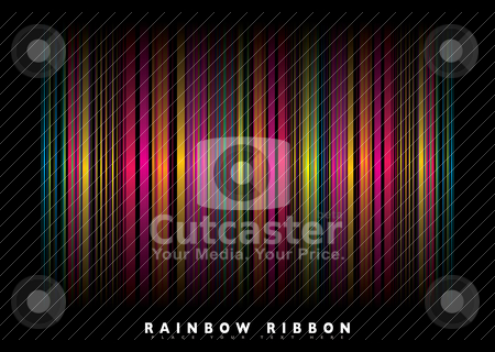 Rainbow stripe bg stock vector clipart, Neon rainbow abstract background with ribbons of colour by Michael Travers
