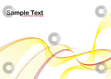 Yellow wave stroke stock vector clipart, Abstract yellow wave background with highlight red stripe by Michael Travers