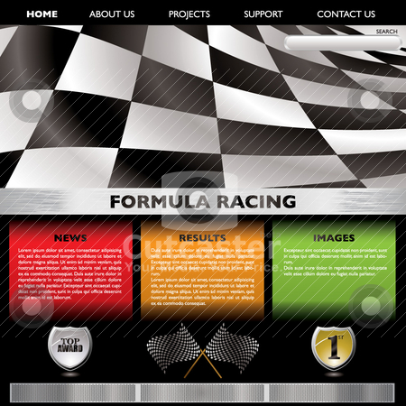 Formula racing web stock vector clipart, Motor racing concept web page with room to add your own text by Michael Travers