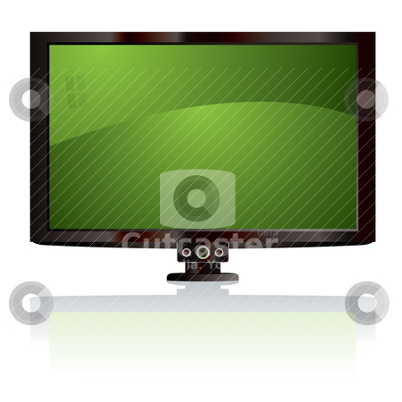 Lcd tv green stock vector clipart, Flat screen lcd display with light reflection and black surround by Michael Travers