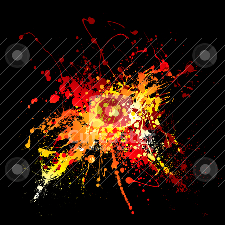 Hot ink splat stock vector clipart, Bright red hot ink splat design with black background by Michael Travers
