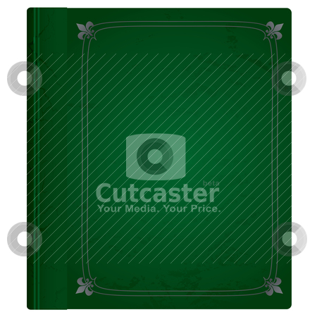 Leather book green stock vector clipart, Green and silver leather bound hard backed background by Michael Travers