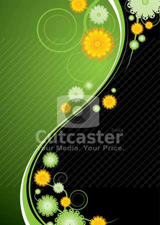 Nature explosion stock vector clipart, Green and black abstract background with gloral elements and vines by Michael Travers