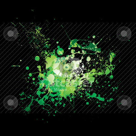 Dribble green splat stock vector clipart, Illustrated Abstract green and black ink splat background by Michael Travers